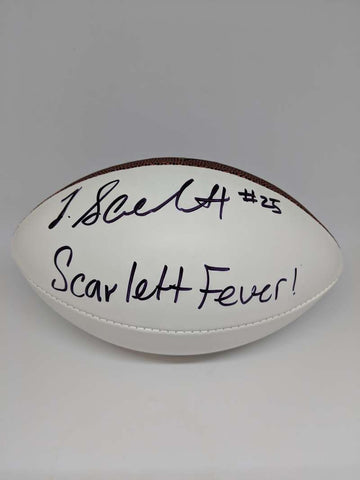 Jordan Scarlett Signed Autograph Auto Football NFL Mini White JSA PSA COA Fever Inscription Black Ink