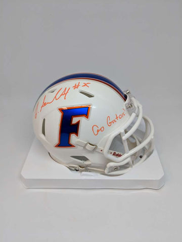 Jordan Scarlett Signed Autograph Auto Helmet Florida White Mini JSA PSA COA Go Gators Inscription Orange Ink