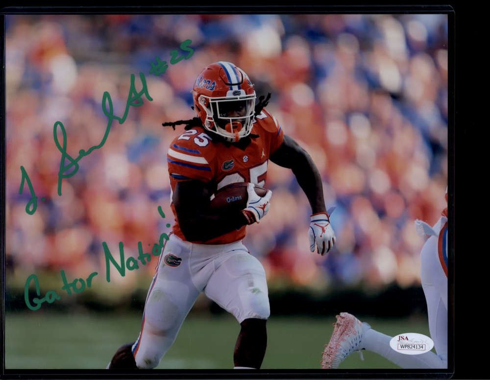 Jordan Scarlett Signed Autograph Auto Photo 8x10 Florida JSA PSA COA Gator Nation Inscription Green Ink