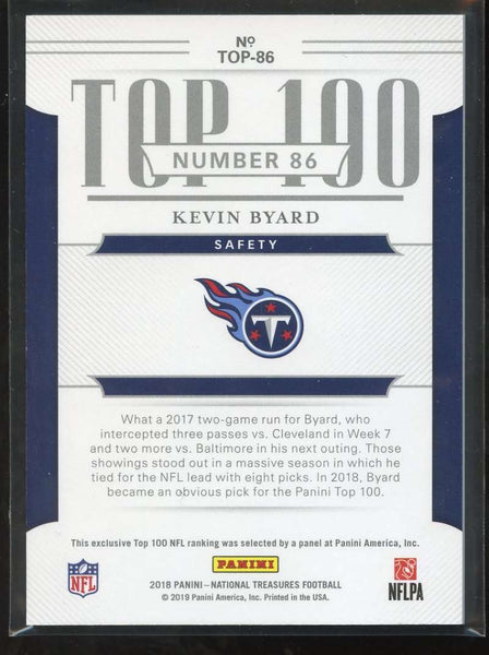 2018 Panini National Treasures Top 100 Collection #86 Kevin Byard Mint /75 Tennessee Titans