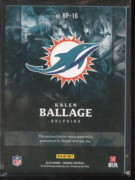 2018 Panini Origins Rookie Patches Red #16 Kalen Ballage Mint Jersey Patch /99 Miami Dolphins