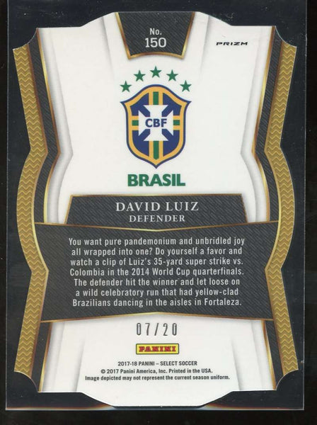 2017-18 Panini Select Camo Die Cut #150 David Luiz Mezzanine Mint /20 Brazil