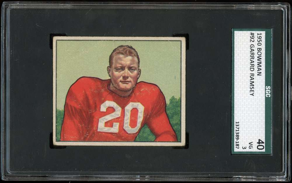 1950 Bowman #92 Buster Ramsey SGC 3 VG 40 RC Chicago Cardinals