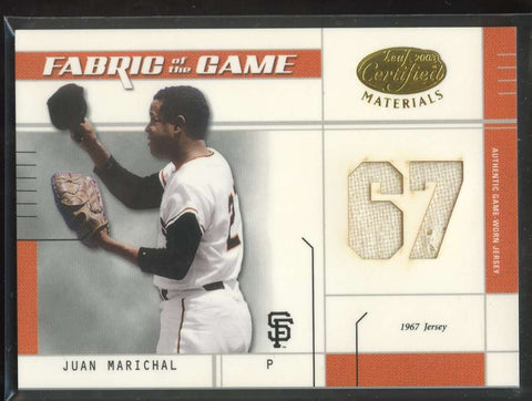 Juan Marichal Jersey Patch 4/67 Game Worn 2003 Leaf Certified Materials Giants