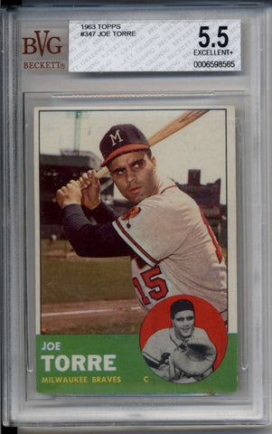 Joe Torre 1963 Topps BGS BVG 5.5 EX+ Milwaukee Braves #347
