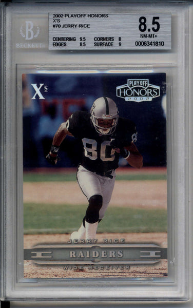 Jerry Rice Silver /100 X's 2002 Playoff Honors BGS 8.5 NM-MT+