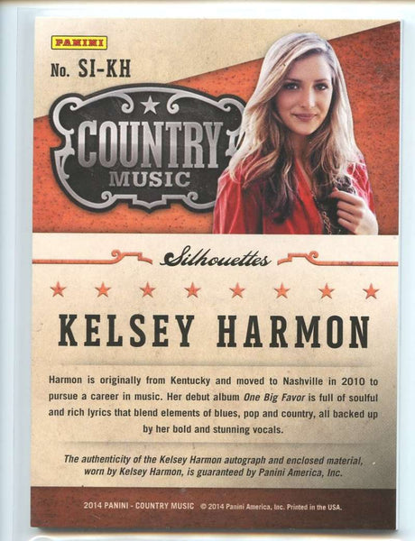 2014 Panini Country Music Silhouette Signature Materials #19 Kelsey Harmon Mint Jersey Patch Auto /399
