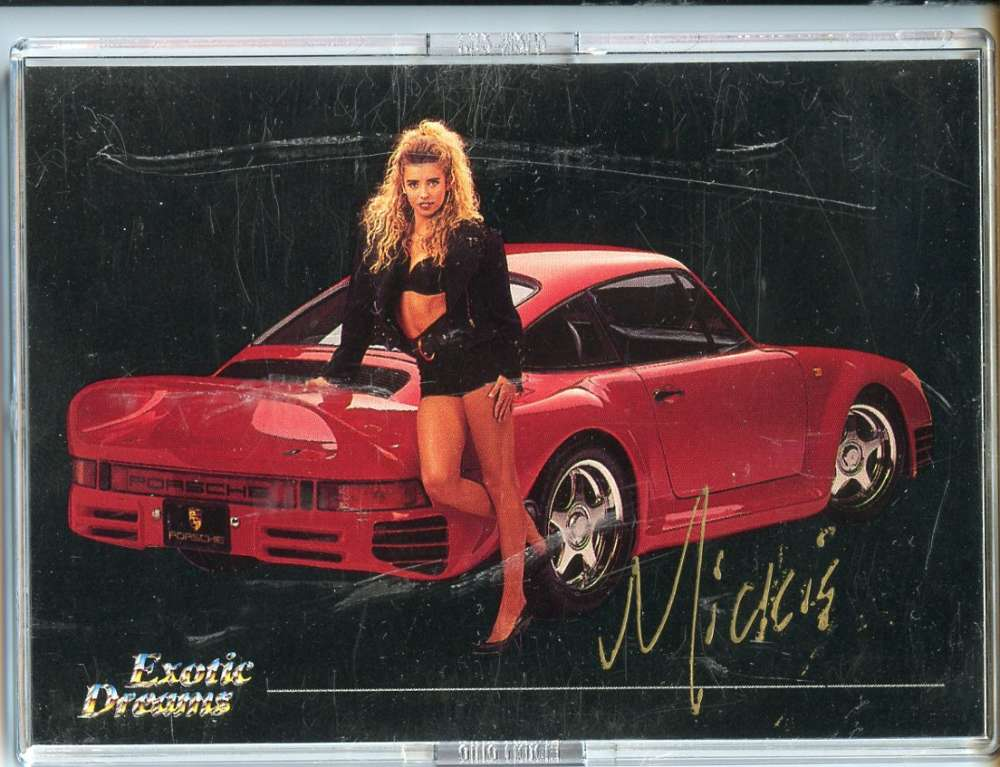 Mickie w/ Porsche 959 Coupe Auto Car Cards 1992 Exotic Dreams #40 PROTOTYPE