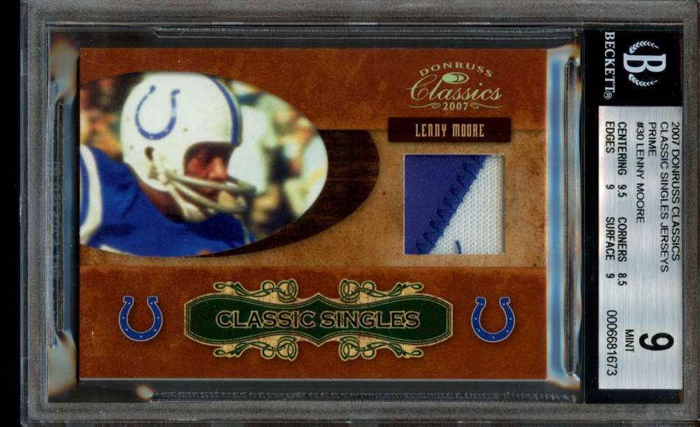 Lenny Moore Jersey Patch /25 BGS 9 Game Used Donruss Classics 2001 Colts POP 1