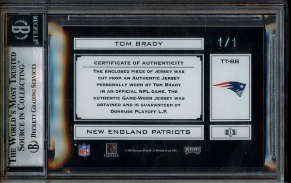 Tom Brady 1/1 Jumbo Game Used Jersey Patch 2004 Panini Absolute Mem TOTT National