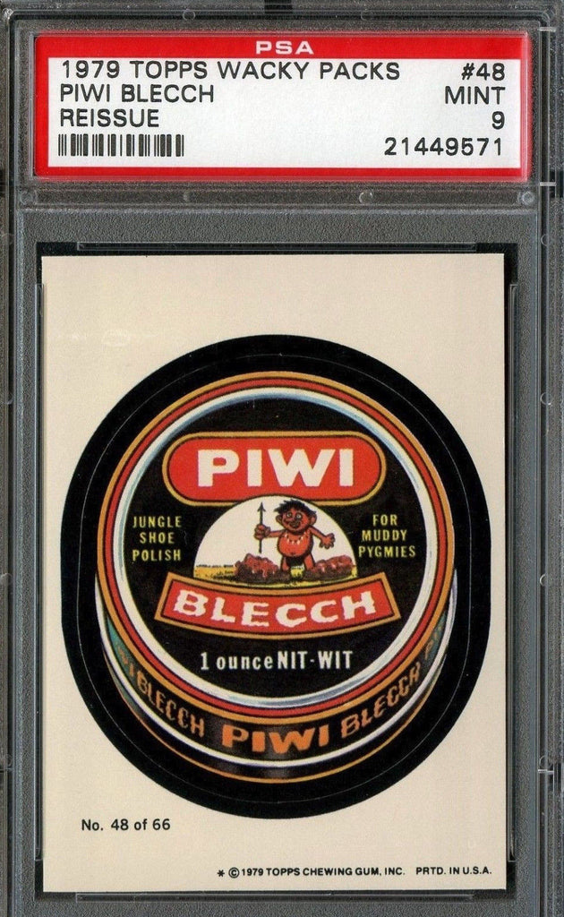 PIWI BLEACH 1979 TOPPS WACKY PACKS STICKER #48 REISSUE GRADED PSA 9 MINT  o