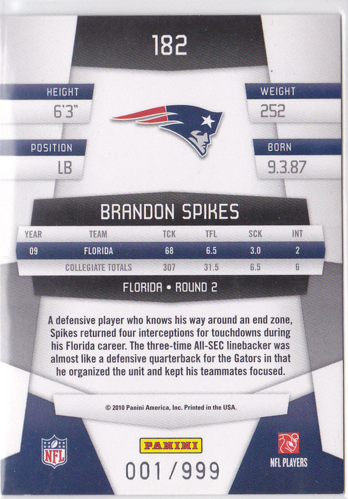 BRANDON SPIKES 2010 CERTIFIED #182 NEW GENERATION RC #001/999 1/1 *BUFF BILLS* G