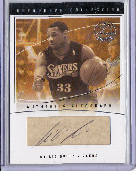 WILLIE GREEN 2003-04 FLAIR FINAL EDITION ROOKIE RC AUTO #06/10 SP *76ERS*  L1