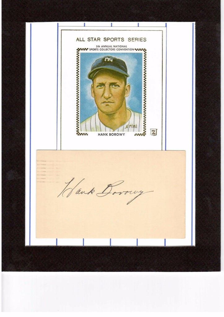 HANK BOROWY MATTED CUT POSTCARD PHOTO W/ AUTOGRAPH INDEX CARD AUTO *YANKEES* a
