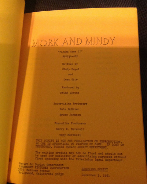 MORK & MINDY ORIGINAL 1981 SHOOTING SCRIPT *PAJAMA GAME II* ROBIN WILLIAMS