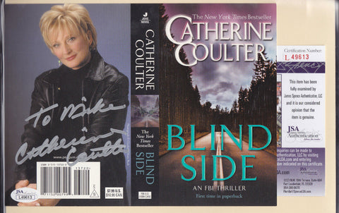 CATHERINE COULTER SIGNED BOOK COVER JSA COA AUTH AUTO AUTOGRAPH *BLIND SIDE* a