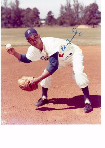 CHICO FERNÁNDEZ 8X10 COLOR AUTOGRAPH PHOTO AUTO *BROOKLYN DODGERS - SHORTSTOP* a