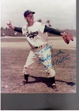 ANDY PAFKO 8X10 COLOR AUTOGRAPH PHOTO AUTO *BROOKLYN DODGERS - CENTER FIELDER* a