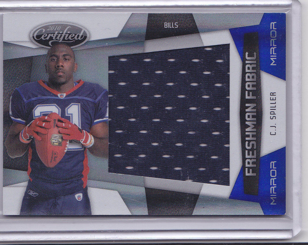 C.J. SPILLER 2010 CERTIFIED FF MIRROR BLUE JUMBO JERSEY PATCH #09/50 *BILLS* J