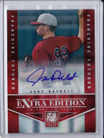 JAKE BARRETT 2012 ELITE EXTRA EDITION RED #195/319 ROOKIE RC AUTO *D BACKS* m2