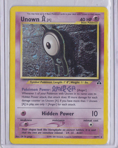 UNOWN #14/75 Pokemon Neo Discovery Holo Foil / Holographic RARE Trading Card  G