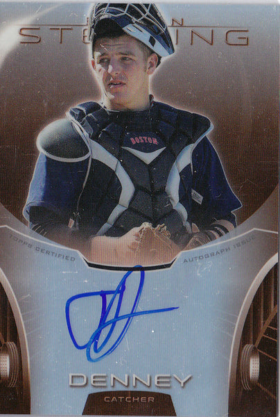JON DENNEY 2013 BOWMAN STERLING /75 ORANGE REFRACTOR ROOKIE RC AUTO *RED SOX* m2