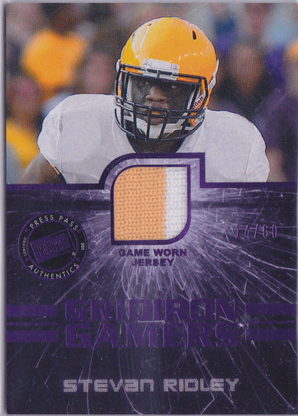 STEVAN RIDLEY 2011 PRESS PASS GRIDIRON GAMERS 2 COLOR COLLEGE JERSEY PATCH /60 J