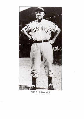 BUCK LEONARD 4X8 B/W PHOTO W/ AUTOGRAPH INDEX CARD NEGRO LEAGUE - 1ST BASEMAN a