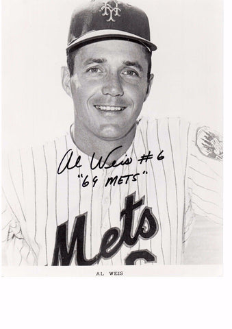 AL WEIS 8X10 B/W AUTOGRAPH PHOTO AUTO *METS - SECOND BASEMAN/SHORTSTOP* a
