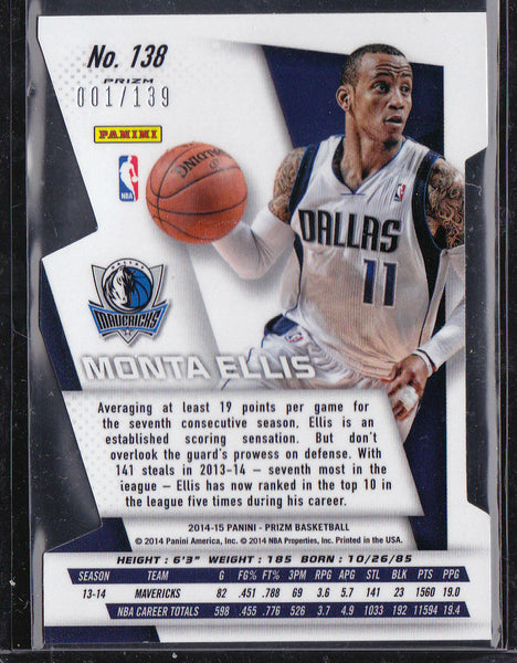 MONTA ELLIS 2014-15 PANINI PRIZM #138 ORANGE DIE CUT SP #001/139 REFRACTOR 1/1 b