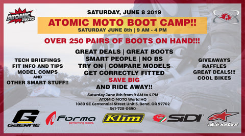 ATOMIC MOTO BOOT CAMP AND TENT SALE!!