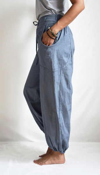 Banian : Pantalon de méditation ample ajustable Gris