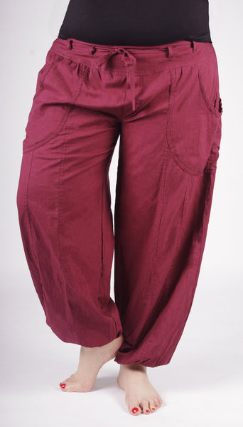 Banian : Pantalon de méditation ample ajustable Bordeaux