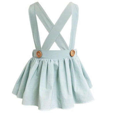 DIANE PLEATED SUSPENDER SKIRT - SKY BLUE - Honey Beez