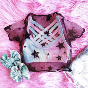 STAR MESH CROP TOP - Honey Beez