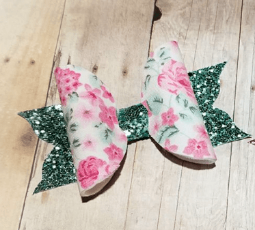 MINT/FLORAL FLUTTER BOW - Honey Beez