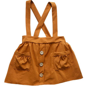 SUSPENDER POCKET SKIRT - CAMEL - Honey Beez