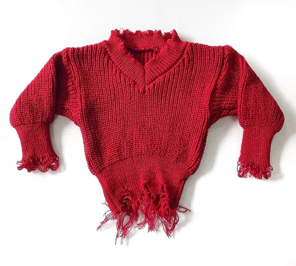 Cranberry Distressed Sweater