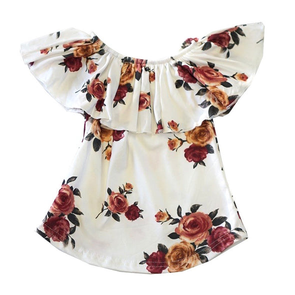 IVORY FLORAL RUFFLE TOP - Honey Beez