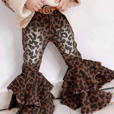 Leopard Bell Bottom Jeans Pants