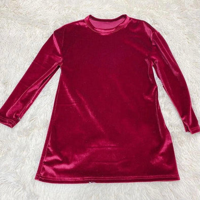 Velvet Tshirt Dress *Cranberry