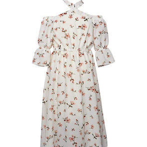 PENELOPE BELL SLEEVE MAXI DRESS - WHITE FLORAL - Honey Beez