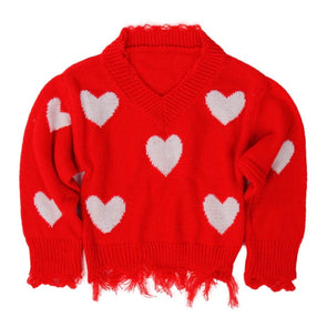 RED SWEETHEART SWEATER