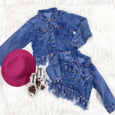 Baby Girl Jean Jacket Fringe Coat