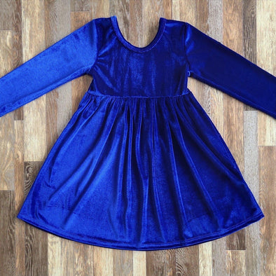 Velvet Twirl Dress *Royal Blue