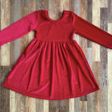 Velvet Twirl Dress *Cranberry