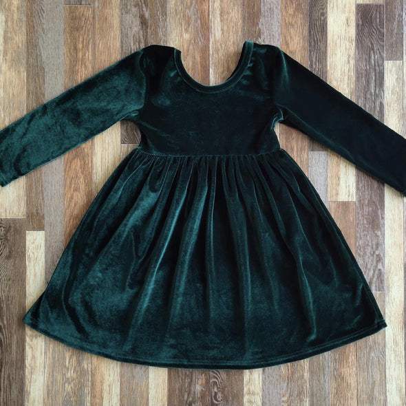 Velvet Twirl Dress *Hunter