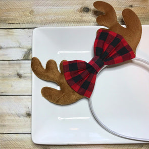 BUFFALO PLAID ANTLER HEADBAND - Honey Beez