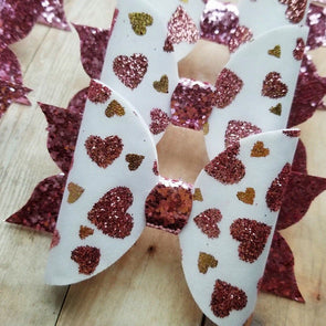 GOLD/BLUSH HEART FLUTTER BOW - Honey Beez