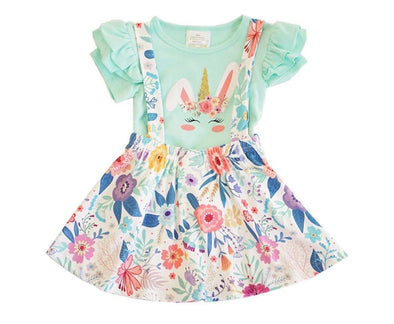 UNICORN BUNNY SUSPENDER SKIRT SET - Honey Beez